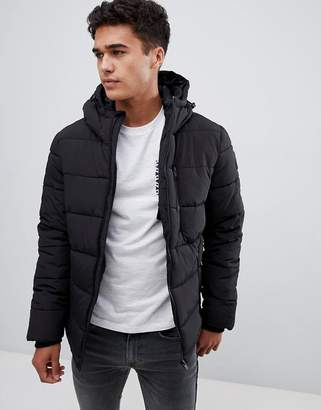 Burton Menswear Puffer Jacket In Black