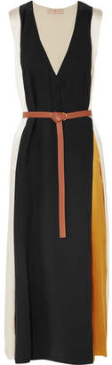 Tory Burch Clarice Belted Color-block Silk-satin Wrap Dress - Black