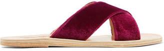 Ancient Greek Sandals Thais Velvet And Leather Slides - Plum