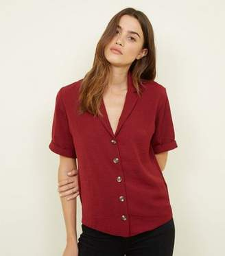 New Look Burgundy Button Front 1/2 Sleeve Boxy Shirt