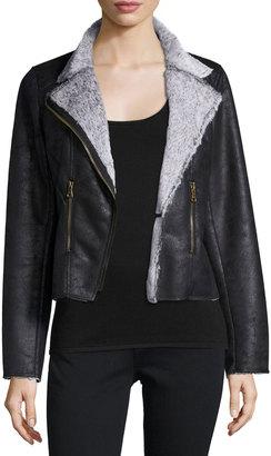 Raison D'etre Vegan Suede Moto Jacket, Dark Brown $101 thestylecure.com