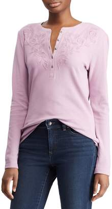 Chaps Textured Cotton Long-Sleeve Top
