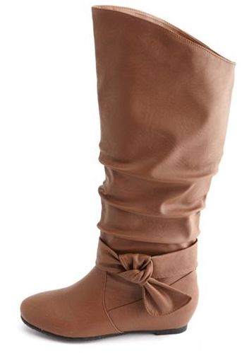 Charlotte Russe Ankle Bow Slouchy Wedge Boot