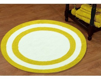 """Saffron Fabs Bath Rug, 36"""" Round, Two Tone Reversible Solid Color Textured Pattern, Assorted Colors"""