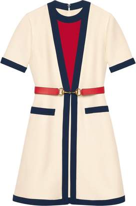 Gucci Belted wool silk dress