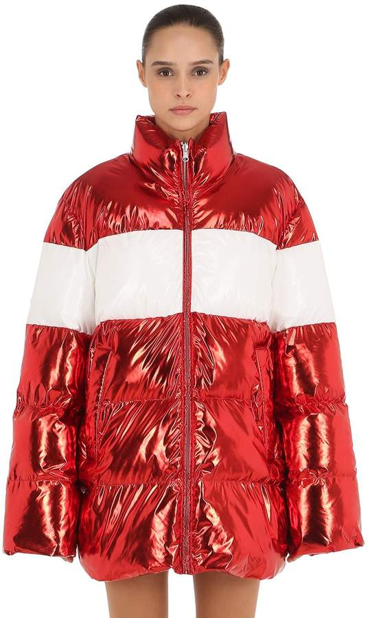 Pushbutton Metallic Nylon Puffer Coat
