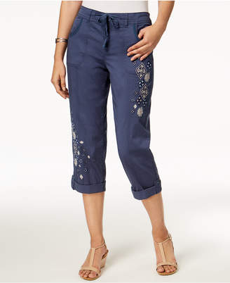 Style&Co. Style & Co Embroidered Capri Pants, Created for Macy's