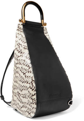 J.W.Anderson Wedge Elaphe And Leather Shoulder Bag - Off-white
