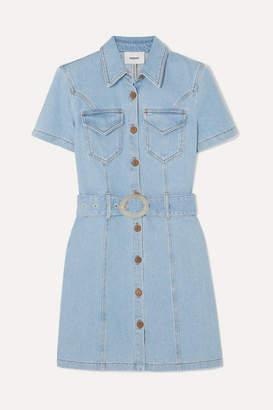 Nanushka Mora Belted Denim Mini Dress - Light denim