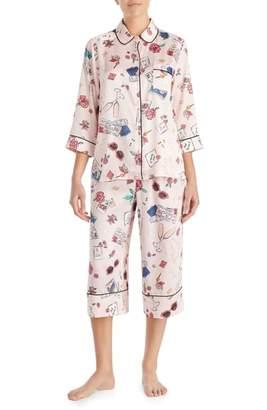 Kate Spade Print Charmeuse Crop Pajamas