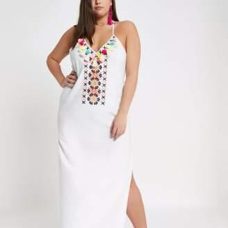 River Island Womens Plus cream pom pom beach maxi dress