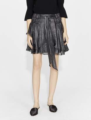 Halston METALLIC STRIPE FLOUNCE SKIRT