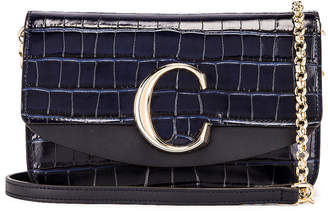 Chloé C Embossed Croco Clutch Bag in Full Blue   FWRD