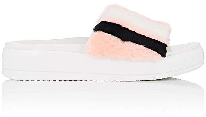Prada Women's Fur Platform Slide Sandals