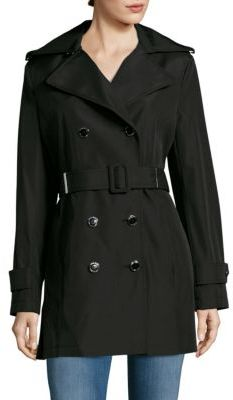 Calvin Klein Solid Double-Breasted Trench Coat