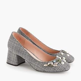 J.Crew Block-heel pumps in embellished plaid