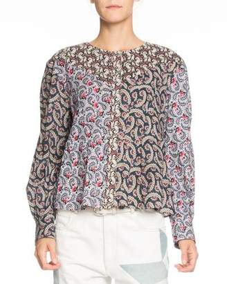 Etoile Isabel Marant Loris Mixed-Print Long-Sleeve Cotton Blouse