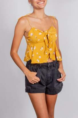 Cotton Candy Mustard Tie-Front Ruffle-Top