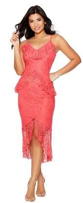 Quiz Coral Lace Frill Midi Dress