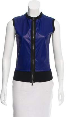 Reed Krakoff Vegan Leather-Accented Sleeveless Top
