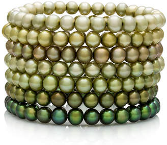 FINE JEWELRY Dyed Green Freshwater Pearl 7-pc. Stretch Bracelet Set