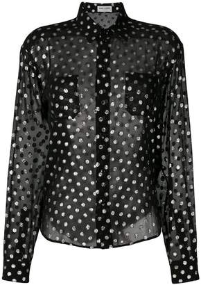 Saint Laurent sheer lurex polka dot shirt