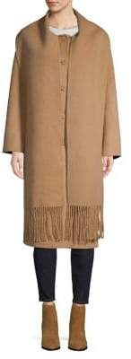 Sandro Wool-Blend Fringe Shawl Coat