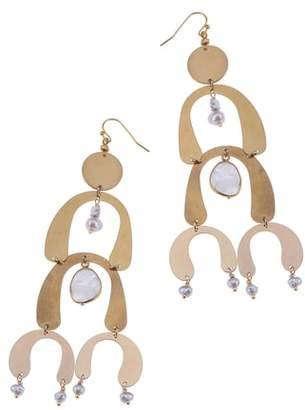 Nakamol Design Brass Arch Moonstone & Freshwater Pearl Statement Earrings