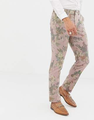 Asos DESIGN skinny suit pants in printed pink floral wool mix