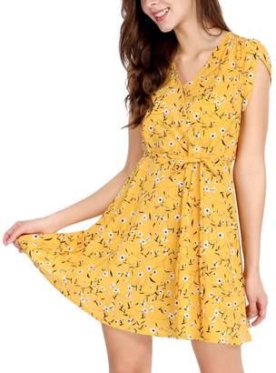Allegra K Women's Boho Crossover V Neck Petal Sleeves Belted Floral Dress