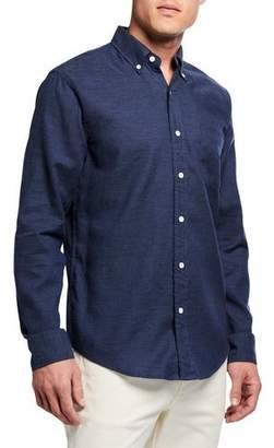 Faherty Men's Oxford Melange Long-Sleeve Sport Shirt, Navy