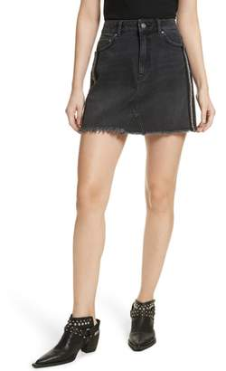 Free People Stripe Cutoff Denim Miniskirt