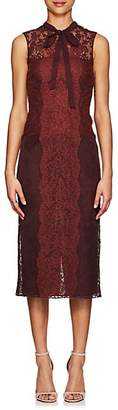 Valentino WOMEN'S FLORAL LACE & TULLE DRESS - WINE SIZE 40