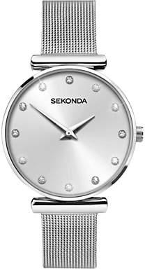 Sekonda 2491.27 Women's Crystal Bracelet Strap Watch, Silver