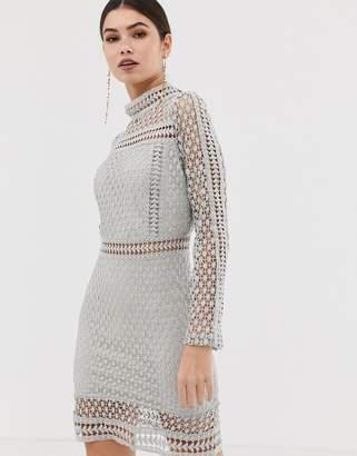 Girl In Mind long sleeve lace mini dress