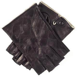 Black Ladies and Gold Fingerless Leather Driving Gloves