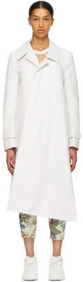 Comme des Garcons White Long Asymmetric Coat