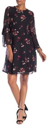 Nine West Long Sleeve Floral Print Dress