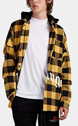 Palm Angels Men's Logo Checked Flannel Shirt Jacket - Yellow
