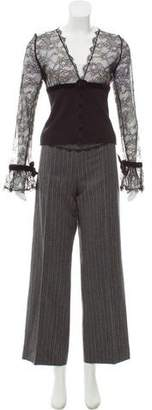 Blumarine Lace-Accented Wool Pant Set