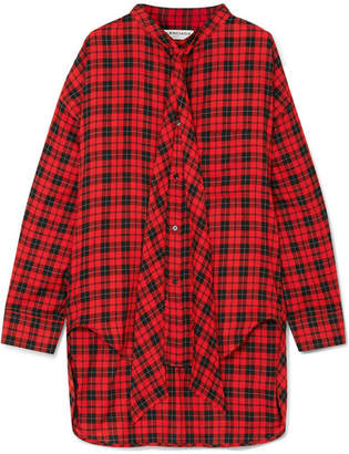 Balenciaga Swing Printed Tartan Cotton-blend Twill Shirt - Red