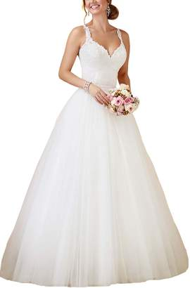 SlenyuBridal Women's Two Pieces Wedding Gown 201 Detachable Train Bride Dress