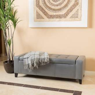 Noble House Gentry Grey Faux Leather Storage Ottoman