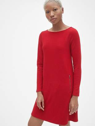 Gap Long Sleeve A-Line Dress with Zip-Pockets
