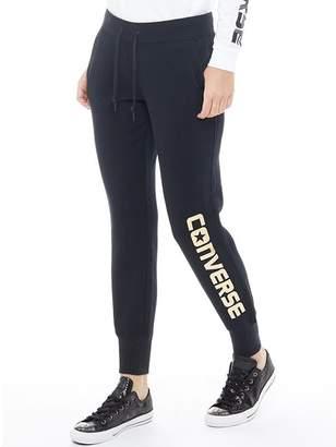 Converse Womens Metallic Logo Sweat Top Black