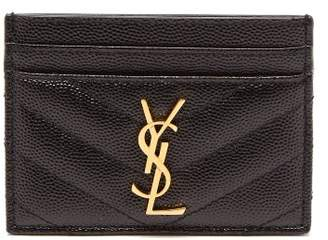Saint Laurent Monogram Quilted Leather Cardholder - Womens - Black