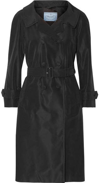 prada Prada - Silk-faille Trench Coat - Black