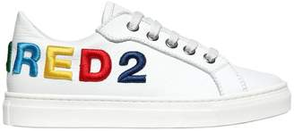 DSQUARED2 Embroidered Nappa Leather Sneakers