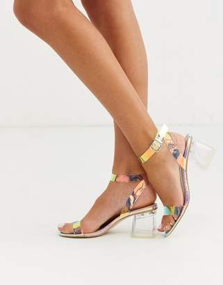 Public Desire Afternoon block heeled sandal in iridescent croc