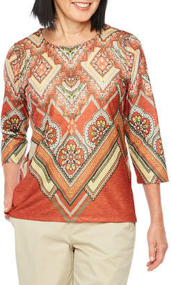 Alfred Dunner Autumn In New York 3/4 Sleeve Round Neck Medallion T-Shirt-Womens